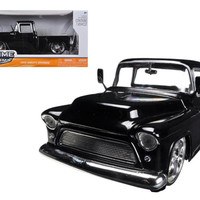 1955 Chevrolet Stepside Pickup Truck Black 1-24 Diecast Car Model by Jada