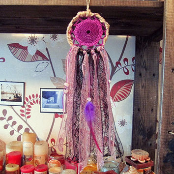 Bohemian Dreamcatcher -  Gypsy Purple -  Small Dream Catcher -  Boho Wall Hanging Dream Catcher - Hippie Bedroom Decor