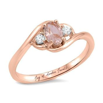 14K Rose Gold 1.7CT Oval Cut Pink Morganite Russian lab Diamond Ring