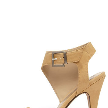 Sweep You Off Your Feet Beige Nubuck Ankle Strap Heels