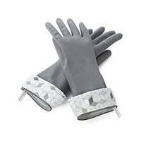 Full Circle Splash Patrol Natural Latex Cleaning and Dish Gloves, Small/Medium, Grey, 2 Piece