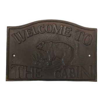 Wild Wings Bouquet Bear Welcome to the Cabin Metal Sign
