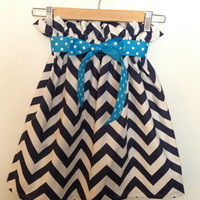 Greek Key NAVY Blue White Chevron Skirt Bow Game Day Sorority Preppy