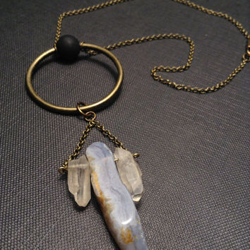 Brass Circle pendant Necklace//Blue Lace Agate Quartz Necklace//Raw STONE unique Jewelry//Mystic Geometric//Gift idea for her Christmas Gift