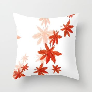 Falling red maple leaves watercolor painting  Throw Pillow by Color and Color