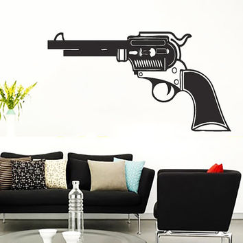 Pistol Firearm Gun Vinyl Decals Wall Sticker Art Design Living Room Modern Stylish Bedroom Nice Picture Home Decor Hall  Interior ki526