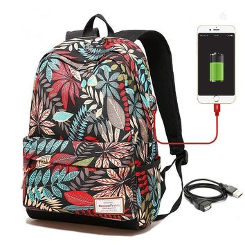 Women USB charging laptop backpack for teenage girls school backpack bag Printing Female Backpacks for college students