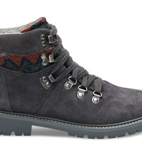 FORGED IRON GREY SUEDE TRIBAL TEXTILE WOMEN'S WATERPROOF SUMMIT BOOTS
