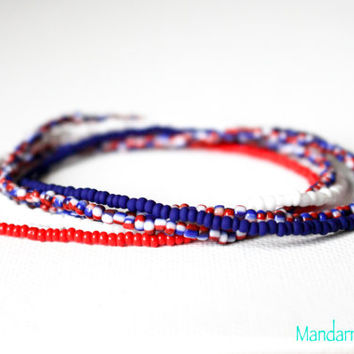 Seed Bead Stretch Bracelets, Set of Five, Red White Blue, Patriotic, American, Independence Day Jewelry, Fourth of July