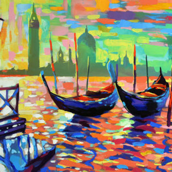 "Venice — Large size Landscape Oil Painting On Canvas By Dmitry Spiros. Size: 28""x48"" (70cm x 120 cm )"