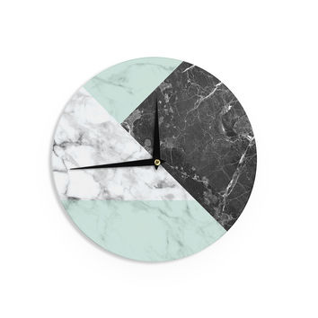 "KESS Original ""Geo Marble and Mint"" Black Art Deco Wall Clock"