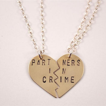 PARTNERS IN CRIME necklaces, hand-stamped, brass, bff, broken heart friendship necklaces