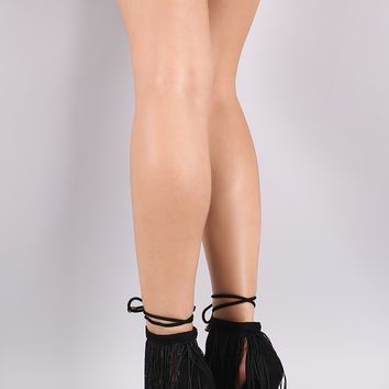 Fringe Single Sole Ankle Lace-Up Heel