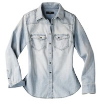 Mossimo® Women's Long Sleeve Denim Shirt - Light Denim