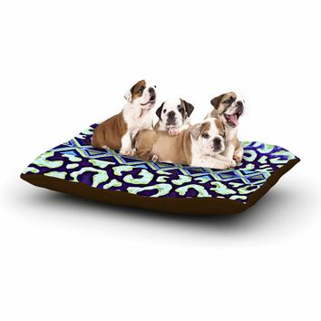 "Ebi Emporium ""The Tribal Leopard - Blue"" Blue Green Painting Dog Bed"
