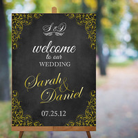 Wedding Welcome Sign Printable Wedding Sign Gold Wedding Signs Chalkboard Wedding Signs Custom Wedding Signs Large Digital Wedding Sign PDF