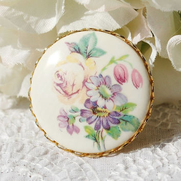 Vintage Cameo Brooch / Pin, White Porcelain, Pastel Flowers, Purple Yellow Pink Green Floral, 1970s Victorian Revival, Spring Summer Jewelry
