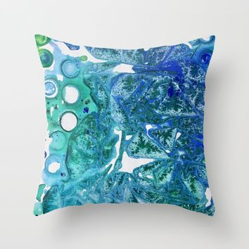 Sea Leaves, Environmental Love of the Ocean Blue Throw Pillow by ANoelleJay