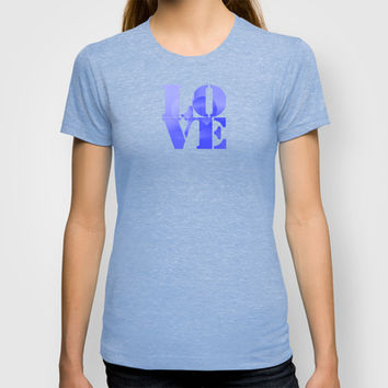 Danish Heart Blues T-shirt by Gréta Thórsdóttir #love #heart #girly #Christmas #blue #kids #ombre #pattern #unisex