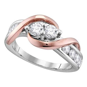 14kt Two-tone Gold Womens Round Diamond 2-stone Bridal Wedding Engagement Ring 1-1-2 Cttw