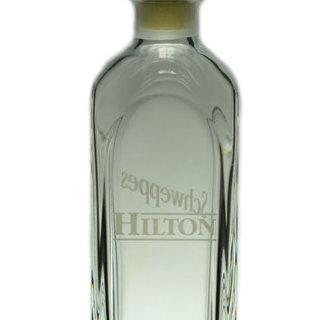 Hilton Schweppes Glass Decanter, Vintage Italian