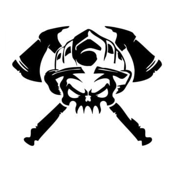 19*15CM Firefighter Skull Car Stickers Covering The Body Reflective Vinyl Decals Black/Silver