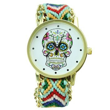 Skull Pattern Weaved Rope Band Bracelet Quartz Dial Watch