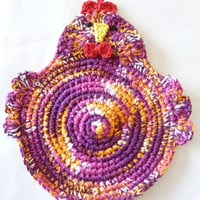 Crocheted Chicken Pot Holder/Hot Pad in Purple/Gold/White/Pink