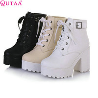 QUTAA New Women Rain Boots Fashion Winter Snow Platform Women's Ankle Boots Motorcycle For Woman Wedding Size 34-43