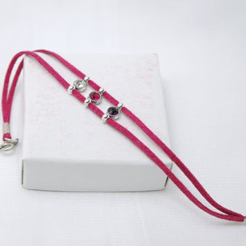 Fuchsia Pink Purple and White Crystal Suede Leather by Myvera