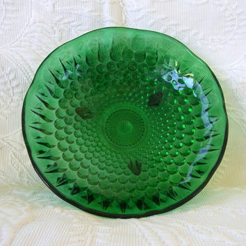 Anchor Hocking Three Toed Footed Forest Green Hobnail and Teardrop Candy Dish