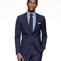 Sutton Suit Jacket in Italian Navy Windowpane Tropical Wool