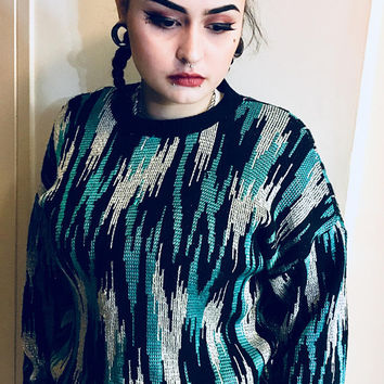 Vintage 1980s Abstract Sweater, Metallic Silver, Teal and Black, Antique Alchemy