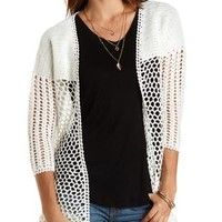 Ivory Crocheted Open Front Cardigan by Charlotte Russe