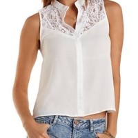 High-Low Lace & Chiffon Top by Charlotte Russe