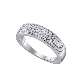 10kt White Gold Men's Round Pave-set Diamond Wedding Band Ring 1/4 Cttw - FREE Shipping (US/CAN)