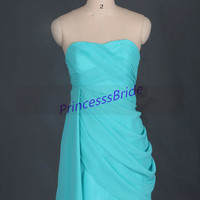 2014 short green-blue chiffon bridesmaid gowns,simple sweetheart dress for wedding party,cheap cute maid of honor dresses hot.