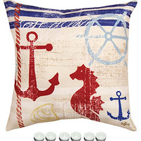 "Manual Woodworkers SLNBSH Nautical Breeze Seahorse Indoor Outdoor Pillow 18""x18"" with 6-Pack of Tea Candles"
