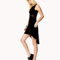 Mesh-Paneled High-Low Dress