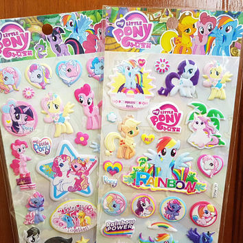 Puffy My Little Pony sticker, Disney sticker, Horse sticker, Unicorn sticker, Rainbow sticker, Animal sticker, My Little Pony 1 2