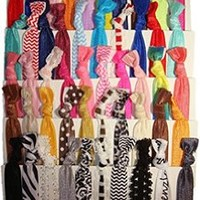 """Hair Ties Ponytail Holders """"Solid Assortment"""" (Available in Lots of Pack Quantities) No Crease Ouchless Stretchy Elastic Styling Accessories Pony Tail Holder Ribbon Bands - By Kenz Laurenz (10 Pack)"""
