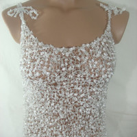 Knitted Transparent Adjustable Strap White Blouse Top for Spring&Summer by Arzu's Style