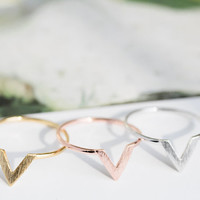 v chevron ring,anniversary ring,pinky ring,couples ring,stacking ring,stackable ring,staked ring,unique ring,women s ring, girls ring,R151N