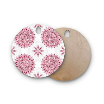 "Julia Grifol ""Geometric Mandalas"" Red White Round Wooden Cutting Board"
