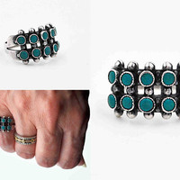 Vintage Zuni Sterling Silver Petit Point Turquoise Ring, Native American, 10 Stone, Double Row, Snake Eyes, Size 6, Beautiful! #c195
