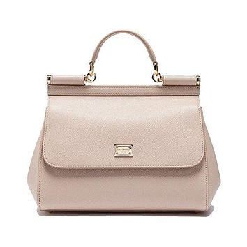 DOLCE & GABBANA Miss Sicily Pink Beige Dauphine Leather Medium Bag Handbag Purse Tote
