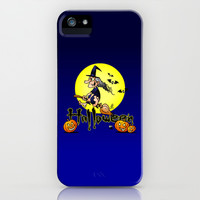 Halloween, witch on a broom, bats and pumpkins iPhone & iPod Case by Cardvibes