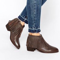 ASOS AROOTS Leather Fringe Ankle Boots
