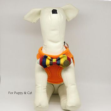 Puppy harness with bow tie, Rainbow bow, love and beloved, Mesh harness, Lightweight, Breathable, Comfortable,Washable harness, harness