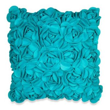 KAS® Luella 3D Flower Square Throw Pillow in Teal